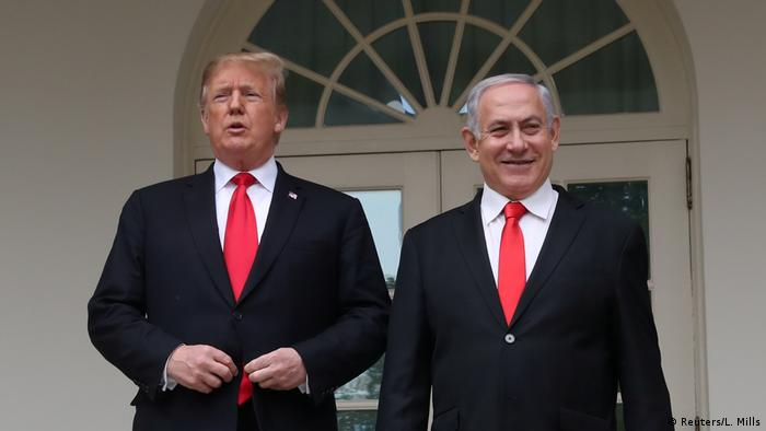 US President Donald Trump and Israel's Prime Minister Benjamin Netanyahu pose on the West Wing colonnade in the Rose Garden