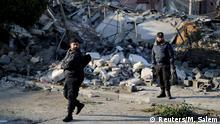 Gaza Polizei Ruinen nach dem Luftangriff