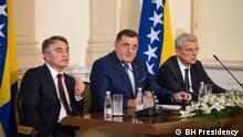 März 2019 Bosnia and Herzegovina's three-men state Presidency - Zeljko Komsic (L), Milorad Dodik (C) and Sefik Dzaferovic (R).