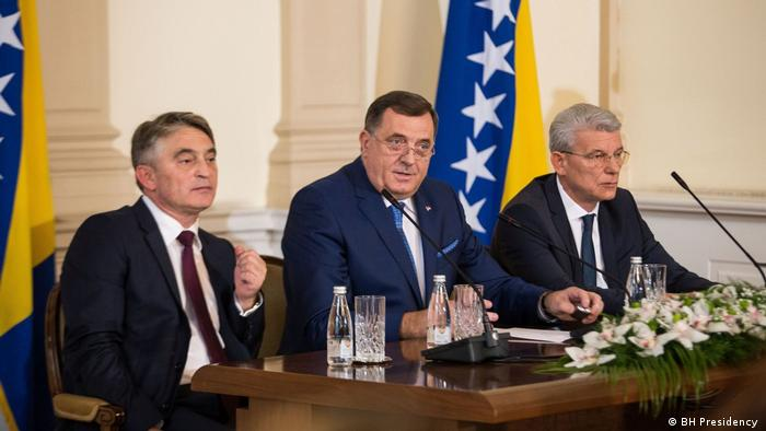 Dreiköpfiges Präsidium Bosnien/Herzegowinas: Zeljko Komsic, Milorad Dodik, Sefik Dzaferovic