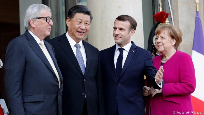 Merkel Macron Juncker Jinping in Frankreich (Reuters/P. Wojazer)