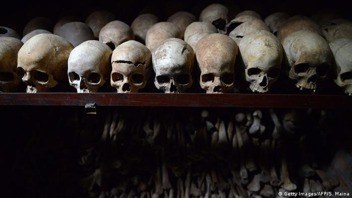 Skulls on display at the genocide memorial in Nyamata (Getty Images/AFP/S. Maina)