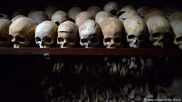 Skulls on display at the genocide memorial in Nyamata