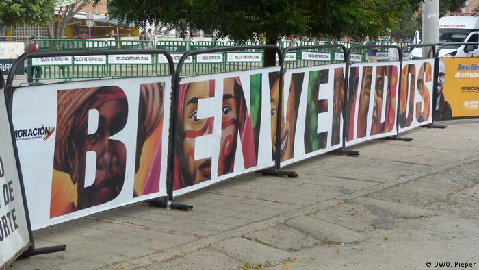 Cartel de bienvenida en Cúcuta.