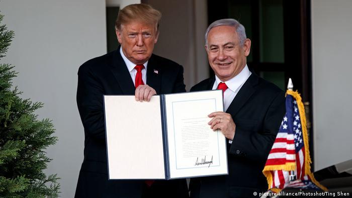 USA Trump und Netanjahu (picture-alliance/Photoshot/Ting Shen)