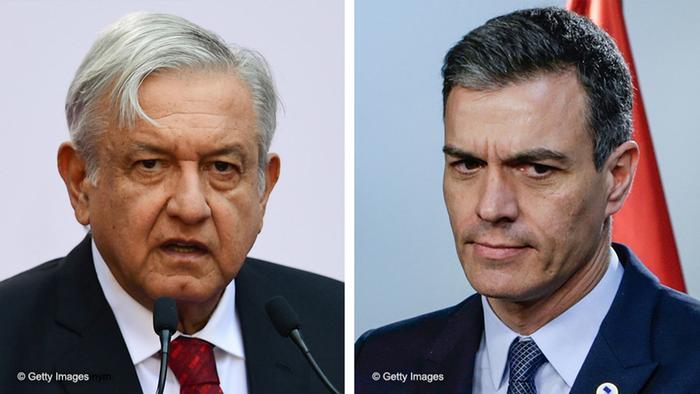 Der Präsident Mexikos, Andrés Manuel López Obrador und der Präsident Spaniens, Pedro Sánchez