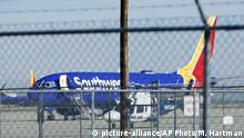 In this Saturday, March 23, 2019 photo, a Southwest Airlines Boeing 737 Max is parked at the Southern California Logistics Airport in the high desert town of Victorville, Calif. Southwest, which has 34 Max aircraft, is making cancellations five days in advance, with an average of 130 daily cancellations. (AP Photo/Matt Hartman) |