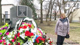 Irina Lavrovskaya visits the holocaust memorial in Brest, where new wreaths have been appearing since the finding of the new mass grave