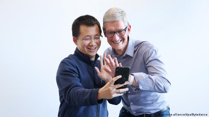 China App TikTok | Tim Cook und Zhang Yiming (picture-alliance/dpa/Bytedance)