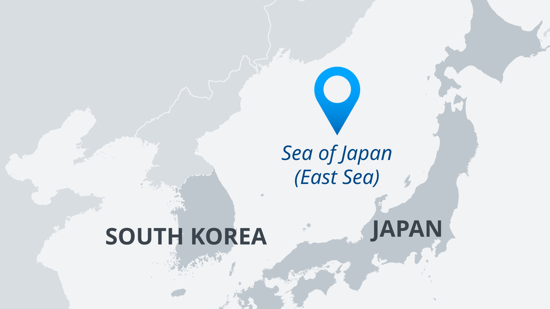 A map showing Japan, South Korea and the body of water between them