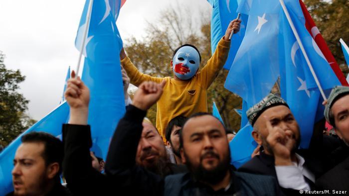 İstanbul'da yaşayan Uygurların 2018'de düzenlediği Çin'e yönelik protesto eylemi