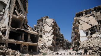 Разрушенные во время войны дома в сирийском Алеппо