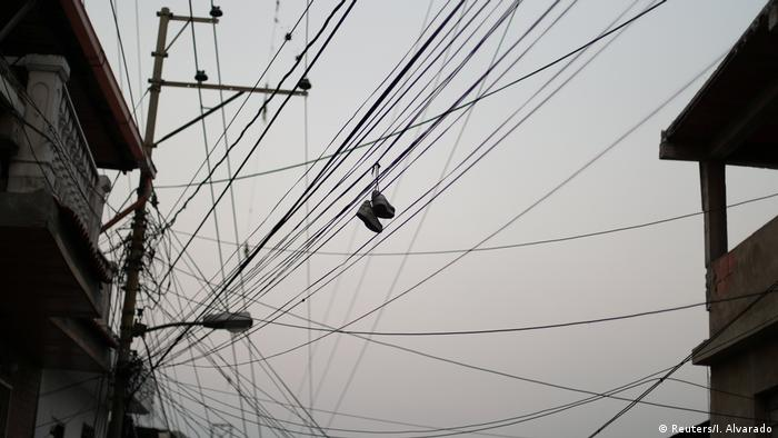 A web of power lines in Caracas, Venezuela