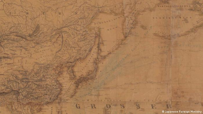 A section of a historical map showing Japan and Korea