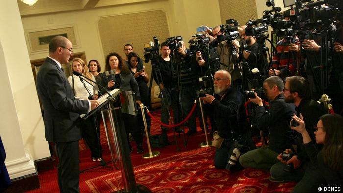 Цветан Цветанов по време на изявлението си в НС