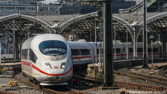 Deutsche Bahn ICE train departs Cologne Central Station