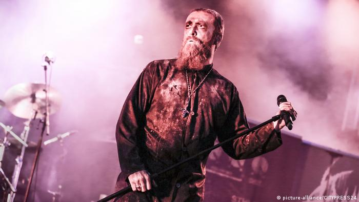 Bloodbath singer Nick Holmes during a concert at a Swedish music festival