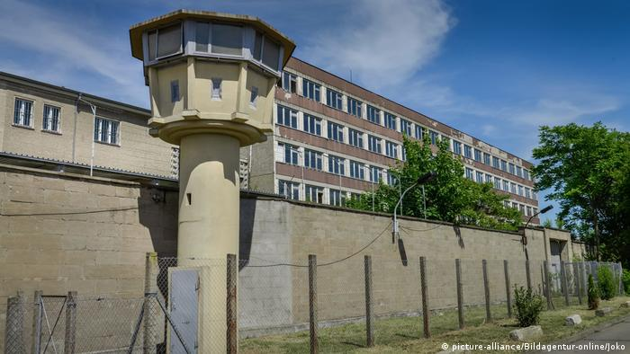 The former Stasi prison in Berlin's Lichtenberg district, watchtower still intact, that today is the site of a memorial