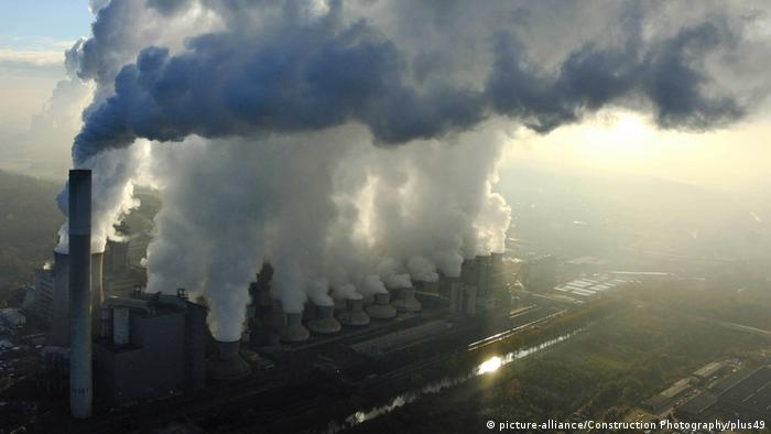 Aerial view of Neurath fired-coal power station showing large amount of fumes and pollution, Cologne