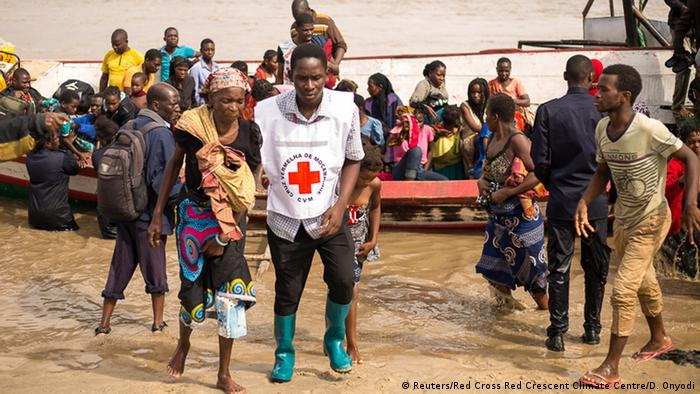 Survivors of Cyclone Idai, arrive to an evacuation centre in Beira, Mozambique