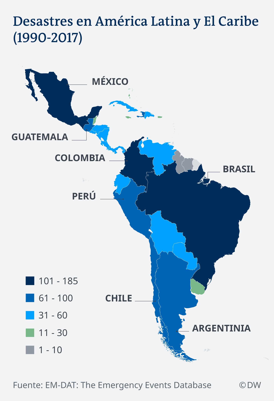Infografik Karte Katastrophenfälle em Lateinamerika é