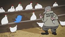 Karikatur von Sergey Elkin zu russischer Aufsichtsbehörde Roskomnadzor