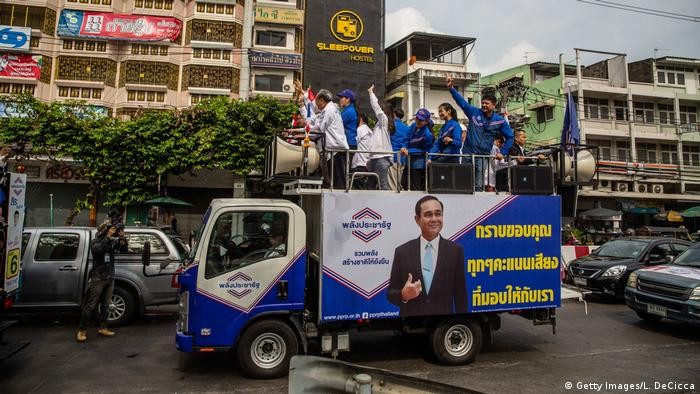 A campaign vehicle for Thai political party Phalang Pracharat