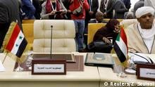 29.3.2019*** Syria's chair is seen empty at a preparatory meeting with Arab foreign ministers ahead of the Arab summit in Tunis, Tunisia March 29, 2019. REUTERS/Zoubeir Souissi