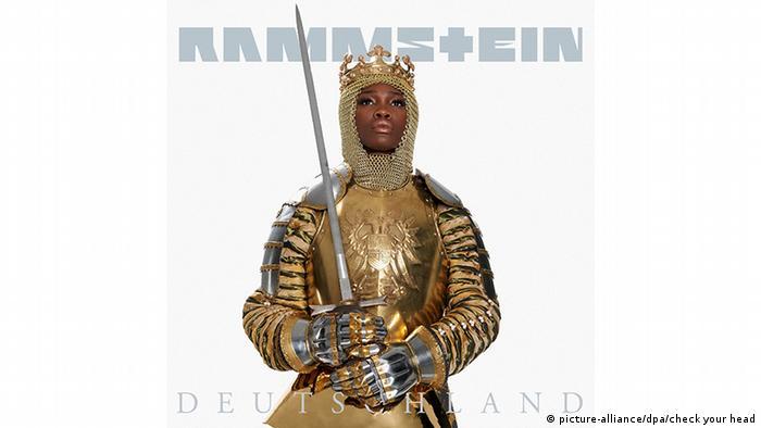 Cover von Rammstein-Song Deutschland zeigt eine Frau in goldener Ritterrüstung mit Schwert in der Hand (Foto: picture-alliance/dpa/check your head).