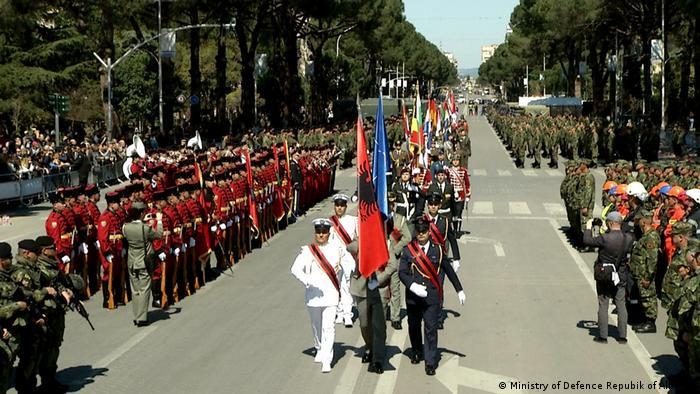 A parade in Tirana marking 10 years of Albanian NATO membership