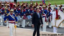 BRASILIA, BRAZIL - JANUARY 01: Newly sworn-in President of Brazil Jair Bolsonaro is recognized as commander-in-chief of the Brazilian Armed Forces as part of Brazil's Presidential Inauguration at Esplanade of the Ministries on January 1, 2019 in Brasilia, Brazil. (Photo by Bruna Prado/Getty Images)