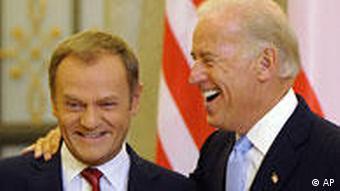 US Vice President Joe Biden and Polish Prime Minister Donald Tusk