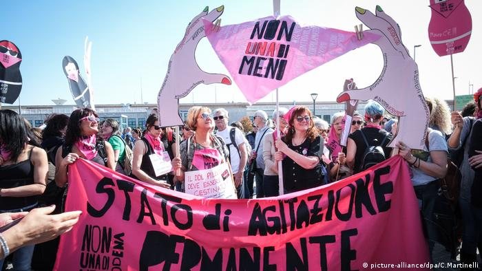Protesters demonstrate against an anti-abortion conference in Verona, Italy