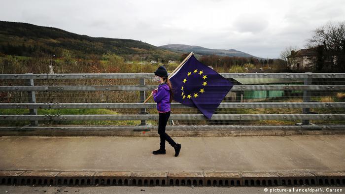BdTD Nordirland Mädchen mit EU-Flagge (picture-alliance/dpa/N. Carson)