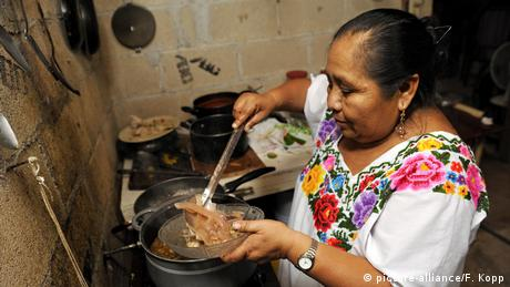 A woman cooking for her family in Mexico