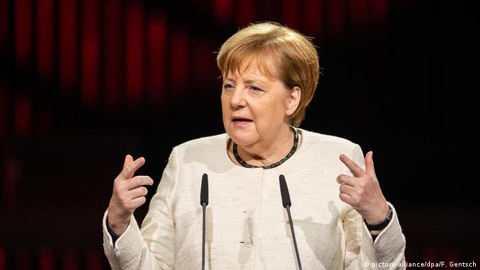 German Chancellor Angela Merkel addresses the 2019 Hanover industrial fair