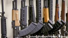 A portion of the rack displaying various models of semi-automatic sporting rifles is seen at Duke's Sport Shop in New Castle, Pa. on Thursday, March 1, 2018. Sales of firearms slowed dramatically after the election of President Donald Trump in 2016 allayed fears of a Democratic crackdown on gun owners. That trend continues, even with talk of gun control in Congress following the massacre of 17 people at a Florida high school last month. (AP Photo/Keith Srakocic) |