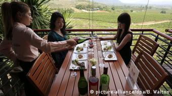 Japanes tourists enjoying a degustation at Siam Winery in Thailand