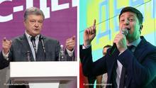 Bildkombo Petro Poroshenko und Volodymyr Zelenskyi