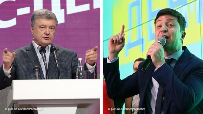 Los dos candidatos en la segunda vuelta de las elecciones presidenciales en Ucrania: el actual jefe de Estado, Petró Poroshenko (foto de la izquierda), y el comediante Vladímir Zelenski.