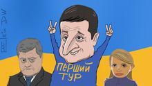 Karikatur von Sergey Elkin - Wolodymyr Selenskyj gewinnt den ersten Wahlgang bei der Präsidentenwahl in der Ukraine