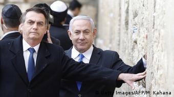 Israel Klagemauer Jerusalem | Netanjahu & Bolsonaro, Präsident Brasilien (Getty Images/AFP/M. Kahana)