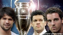 --- DW-Grafik: Peter Steinmetz 2009_10_22-Championsleague-Pokal-Diego,-Ballack,-Metzelder