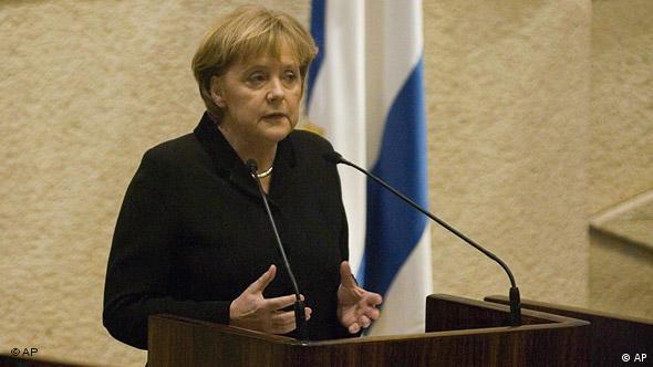 A chanceler alemã Angela Merkel discursa diante do Knesset, em 2008