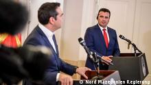 Nord-Mazedonien Skopje Treffen Tsipras Zaev