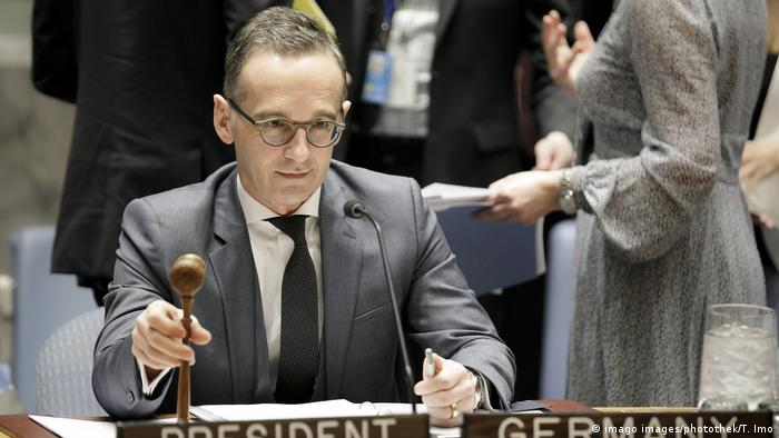 German Foreign Minister Heiko Maas SPD heads a meeting of the United Nations Security Council in New York