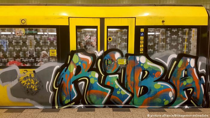 A subway car in Berlin with graffiti