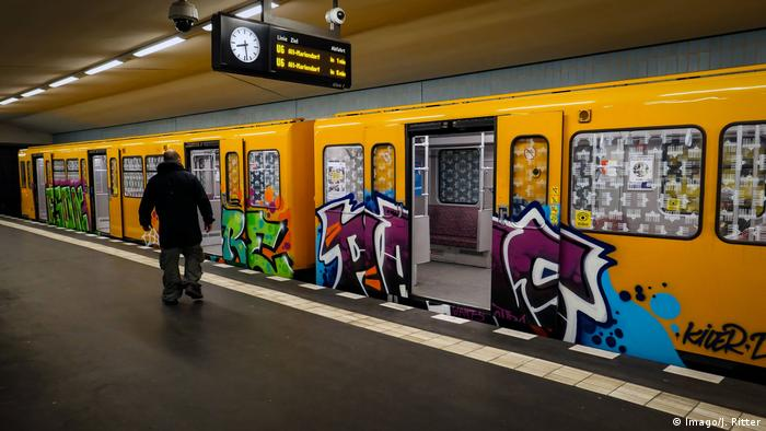 Berlin, U-Bahn car with Grafitti