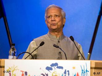 Muhammad Yunus, Nobel Peace Laureate, 2006, and Managing Director of the Grameen Bank speaks during the European Development Days meeting in Stockholm, Thursday Oct. 22, 2009. The European Development Days are a yearly event hosted jointly by the European Commission and the EU Presidency, bringing some 4 000 people and 1 500 organizations from the development community together. (AP Photo/Scanpix/Maja Suslin) ** SWEDEN OUT **