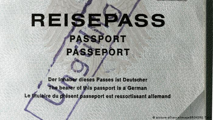 A German passport stamped 'invalid'